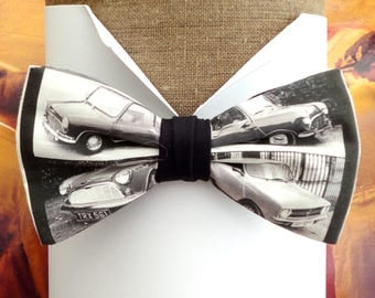 Bow ties for men, black and white photos print of Mini's, pre tied bow tie