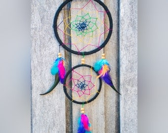 Rainbow and Black Dreamcatcher