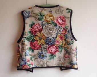 Floral waistcoat  vest // upcycled barkcloth boho // OOAK // UK seller
