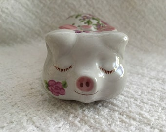Ceramarte Sleeping Pig, Exclusive Avon Design, 1978, Hand Decorated Pink Floral Pig Sachet Pomander, Potpourri Holder, Sleeping Pig, Brazil
