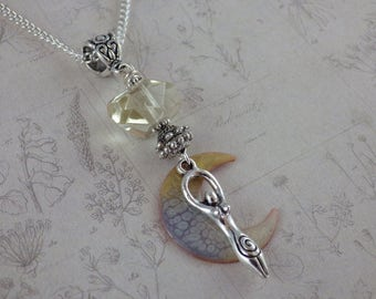 Cerridwen Citrine Goddess Pendant, Crescent Moon Pagan Necklace, Silver Wiccan Jewellery