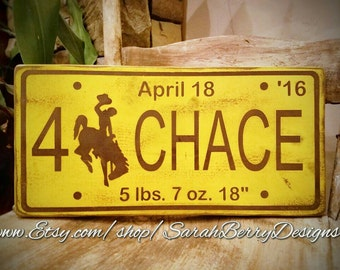 Custom Baby Name Wooden Wyoming License Plate - University of Wyoming Cowboys - Bucking horse and rider - 307 - Vintage - baby gift