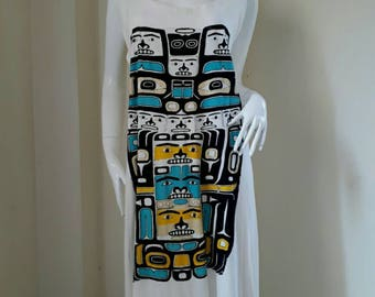 Print Cotton Tunic/ Plus Size Clothes/ Japanese Dress/ Loose Fit Dress/ Beach Dress/ Hipster Clothing/ Bohemian Dress