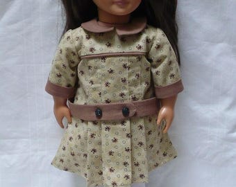 """1910's casual dropped waist dress for young girl  18"""" doll"""