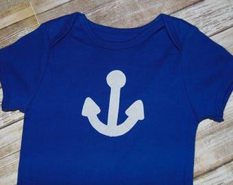 Applique Baby Royal Blue Bodysuit - 6-12 months - White Anchor