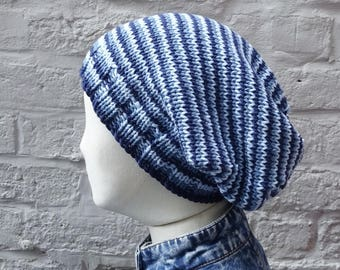 Large Denim Blues Slouchy Hat, Lightweight Summer Stripes Beanie, Cotton and Acrylic, READY TO SHIP