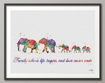 Elephant Family Mom Dad and Babies Family Quote Art Print Watercolor Wedding Gift Wall Art  Wall Decor Art Home Decor Wall Hanging [NO 675]