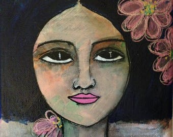 Mini Portrait II. Mixed media folk art portrait.
