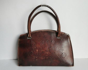 40s Vintage Hand Bag // Tooled Leather