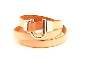 Leather Bracelet Wrap Tan brown with Silver Clasp