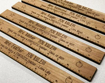 Teacher Appreciation Gift Ruler - Personalized You Rule ruler - Engraved Wood