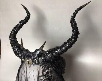 Black horns - horns with moon - Maleficent horns - headdress with horns - headpiece with horns - Black moon headpiece