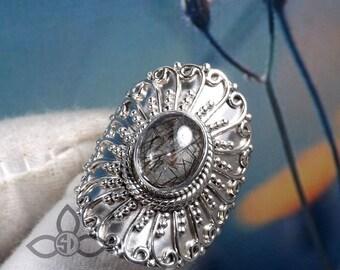 Black Rutail RIng, Designer Ring, Wedding Silver Ring, Unique Ring, Solid Silver Ring, Black Rutail Gemstone, Gift For Her, Birthday Gift