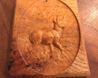 Deer Buck Strong Antlers Carved In Wooden Plaque Old Wood Rough Finish Forest Mountain Animal lcww