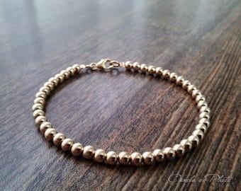 Goldfilled 14K 4mm beads Bracelet. Everyday Wear. 14K Yellow Gold Balls Bracelet, Simple Gold Bracelet,  Stackable bracelet