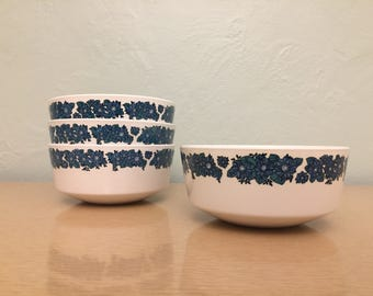 15% SALE *** Four Corning Evening Song Blue Floral Centura Glass 18 oz. Cereal / Soup Bowls