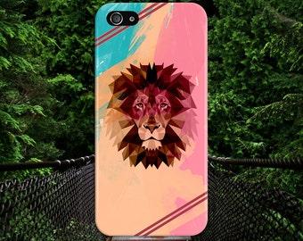 Colorful Pastel Geometric Lion x Burgundy Stripes Case, iPhone 7, iPhone 7 Plus, Tough iPhone Case, Galaxy s8, Samsung Galaxy, CASE ESCAPE