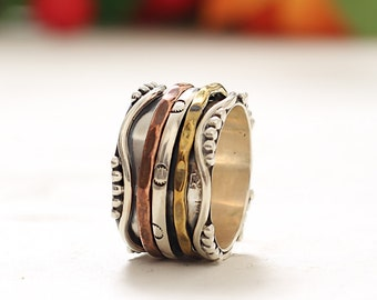 92.5 Sterling Silver Spinning Ring Meditation Spinner Band Tri Color Band Silver,Copper & Brass