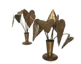 Brass leaves in vase shelf decoration vintage metal leaf sculpture