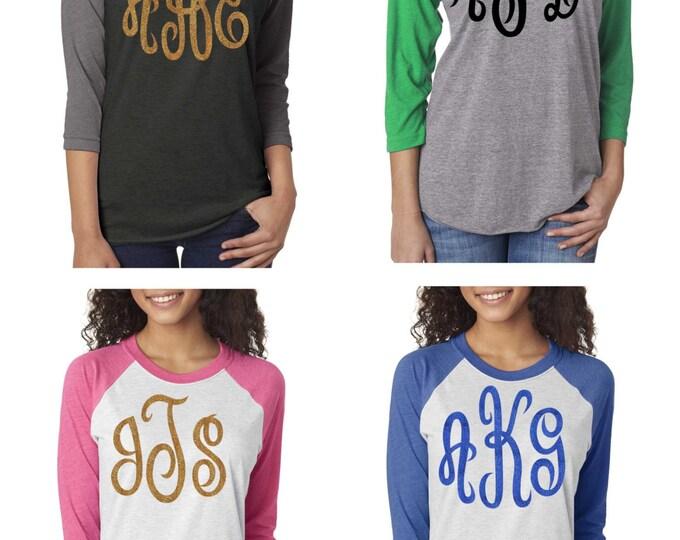 Set of 5 raglan monogram shirts . Initial raglan shirts . Monogram christmas shirts . ladies big monogram glitter shirts. monogram tops