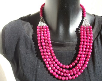 Raspberry bright Ruby necklace.