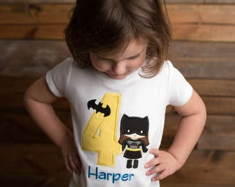 Girls Batgirl Birthday Shirt, Superhero Birthday Shirt, Superhero Theme Birthday, Batman, Embroidered Applique Shirt or Bodysuit