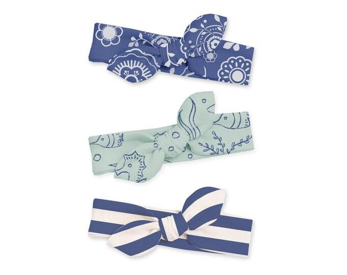 SALE! Newborn Headband Bow Set, Baby Headband Set, Newborn Baby Headwrap, Baby Girl Bow Headband, Baby Knot Headband Blue Floral Tesababe