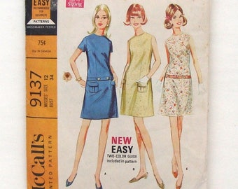 Vintage 60's McCall's Misses' Dress in 3 Versions - Size 12 - (Bust 34)