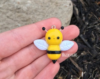 Polymer Clay Bee - Spring Charm - Necklace