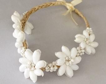 Vintage Seashell Flower Crown or Headband - Perfect Beach or Nautical Wedding Accessory