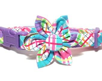 Easter Plaid Dog Collar Set, flower for dog collar, wedding flower, pet collar flower, collar flower
