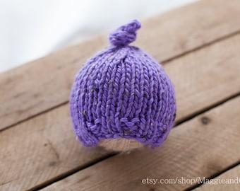 Knot Top Newborn Hat, Newborn Hat, Newborn Girl Hat, Knit Newborn Hat, Classic Knot Hat, Knobby Hat, Purple Newborn Hat