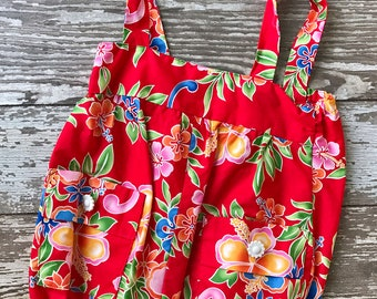 Red Hawaiian Romper