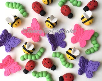 Bubble bees, Butterflies, ladybugs, and Inchworms/caterpillars  (qty 12) handmade fondant cupcake toppers made by FancyTop Cupcake