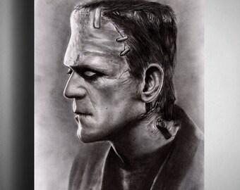 Frankenstein's Monster (Boris Karloff) - Illustrated Giclee Print
