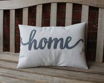 "Script ""home"" Pillow Cover, Quick Ship, 13 colors available!"
