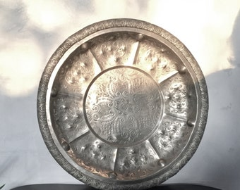 Former plateau, ethnic Fez chiseled silver alloy hand patterns savory 41cm
