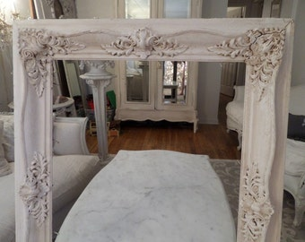 Huge Old Vintage French Picture Frame Barbola Gesso Wood All Around So Ornate Chic!