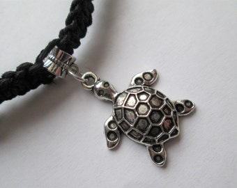 Turtle - Handmade Hemp Necklace with Silver Turtle Charm and Glass Beads - Hemp Choker Necklace - Silver Charm Necklace - Turtle Jewelry