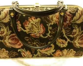 Brocade bag with double handles