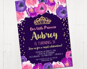 Princess St Birthday Invitation Printable Invitation Princess - 1st birthday invitations girl purple