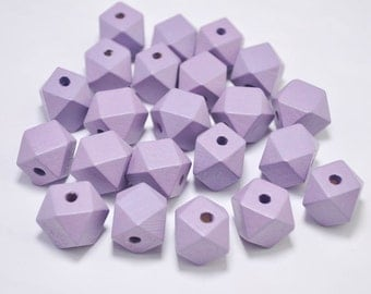 20pcs Lavender Geometric Wood Beads,Hand Painted spaced wood Beads 15mm,Polygonal,DIY Geometric necklace/keyring,Make jewellery for selling
