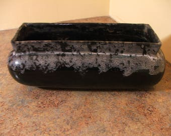 Large Vintage 1940s / 1950s Black with White Rectangular Planter