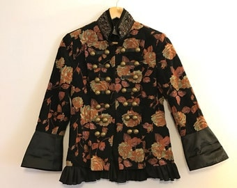 British chic military floral blazer
