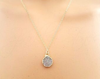 White Druzy Necklace, Small Round Druzy Necklace, Drusy Necklace, Tiny Druzy Drop Necklace, White Drusy