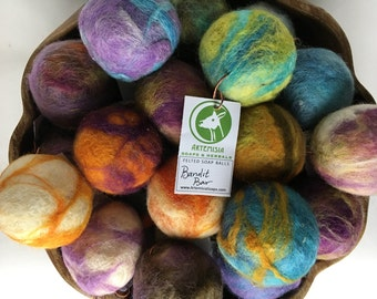 Felted Soap Balls, handmade, natural soap with wool roving