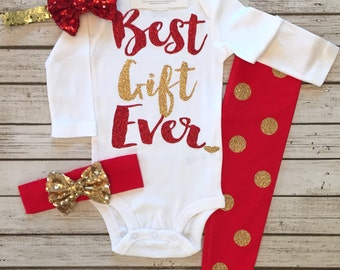 Baby Girl Clothes  Best Gift Ever Shirt and Ruffle Legging Set Best Gift Ever Christmas Bodysuit Best Gift EverShirtband Ruffle Legging Set