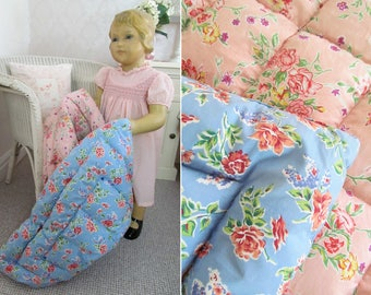 Heart-melting & rare little vintage babies eiderdown~Exactly like the grown up ones!~Double sided pink/blue~Perfect for doll/bear collectors