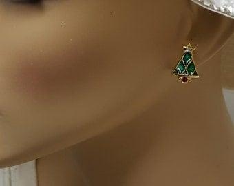 """Christmas Nostalgia Christmas Tree  Gold finish Post Earrings ad Rhinestones Small 1/2"""" Avon Nostalgia"""