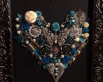 Framed Jewelry Art - Blue Heart with Butterfly